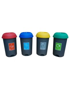 Open Top Recycling Bin 50 Litre with Recycling Sticker