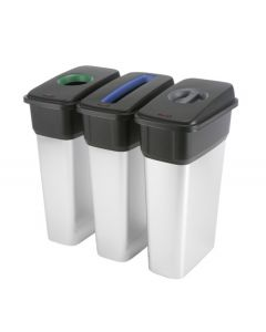 Slim Metal Look Plastic Recycling Bin with Coloured Lids (55 or 70 Litres)