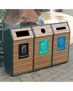 Triple Wood Recycling Bin - 294 Litre