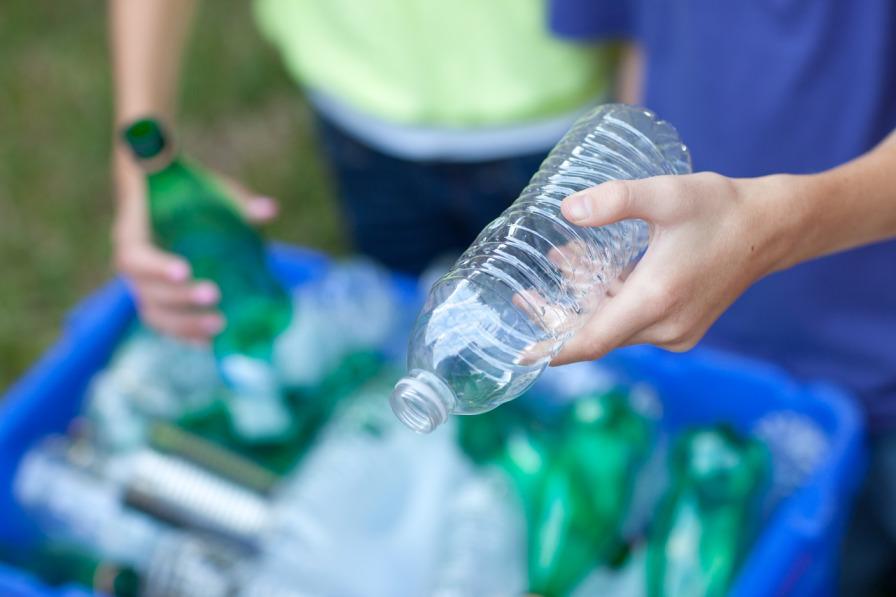 Plastic Bottles in Recycling Bin