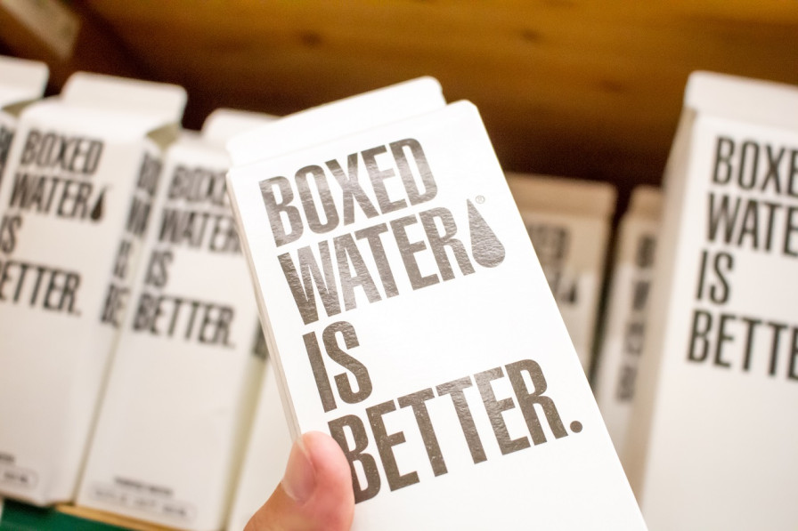 Water is packaged in a carton