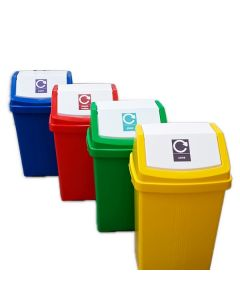 50 Litre Recycling Bin with Flip Top Lid and Recycling Sticker
