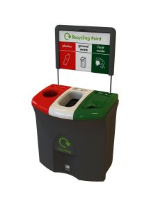 Mini Meridian Triple Aperture Recycling Bin - 87 Litre