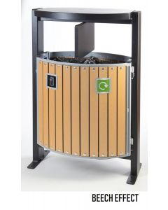 2 Compartment Outdoor Wood Look Recycling Bin (2 x 39 Litres)