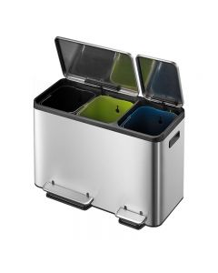 EcoCasa Triple Compartment Recycling Bin - 3 x 15 Litre
