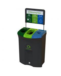Meridian Triple Aperature Recycling Bin - 110 Litre