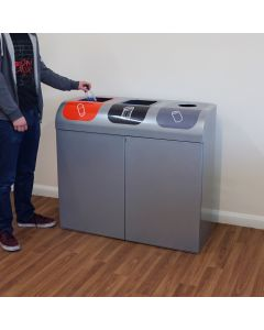 Lute Triple Indoor Recycling Station - 240 Litre