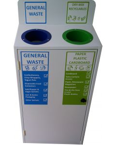 Slimline 2 Bay Recycle Station with Back Signage (50 Litres per Bay)