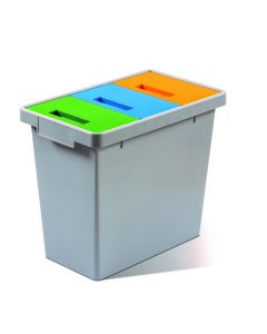 Durable 3 Compartment Recycling Bin with Colour Co-ordinated Lids