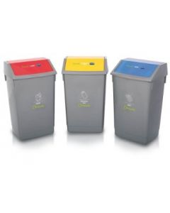 Set of 3 54 Litre Recycling Bins with Colour Coded Flip Top Lids and Stickers