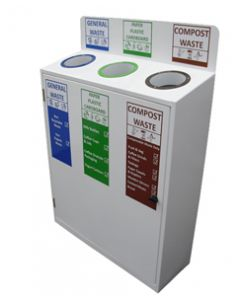 Slimline 3 Bay Recycle Station with Back Signage (50 Litres per Bay)