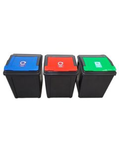 Set of 3, 50 Litre Lift Top Recycling Bins with Coloured Lids
