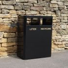 2 Compartment Steel Recycling Bin - 160 Litre