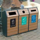 Triple Wood Recycling Bin - 294 Litre