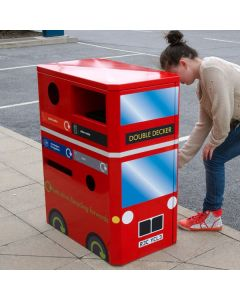 Double Decker Bus Novelty Recycling Bin - 160 Litre