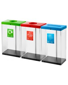 Clear Recycling Bins with Graphics and Liners - 60 Litre