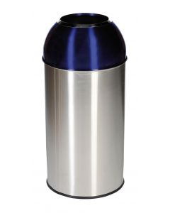Stainless Steel Recycling Bins with Coloured Domes - 40 Litre