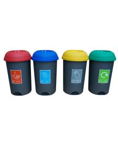 Set of 4 50 Litre Recycling Bins & Stickers