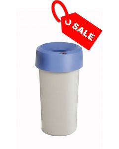 Circular Recycling Bin 50 Litre with Grey Base and Blue Lid