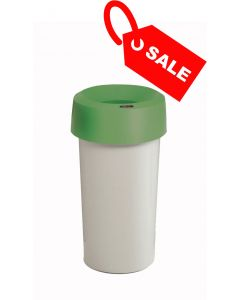 Circular Recycling Bin 50 Litre with Grey Base and Green Lid