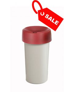 Circular Recycling Bin 50 Litre with Grey Base and Red Lid