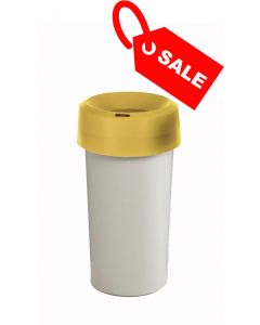Circular Recycling Bin 50 Litre with Grey Base and Yellow Lid