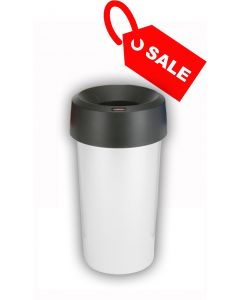 Circular Recycling Bin 50 Litre with Metallic Base and Black Lid