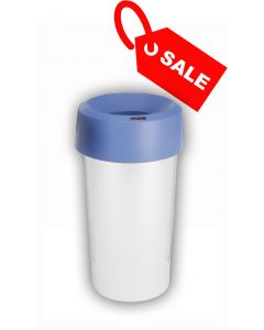 Circular Recycling Bin 50 Litre with Metallic Base and Blue Lid