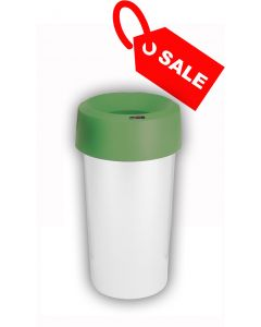 Circular Recycling Bin 50 Litre with Metallic Base and Green Lid