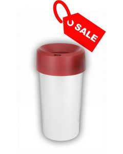 Circular Recycling Bin 50 Litre with Metallic Base and Red Lid
