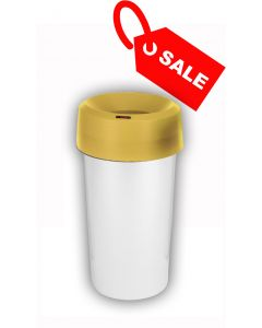 Circular Recycling Bin 50 Litre with Metallic Base and Yellow Lid