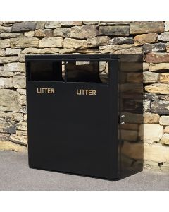 2 Compartment Outdoor Steel Recycling Bin - 224 Litre
