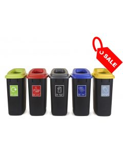 Large Durable Open Top Recycling Bin with Recycling Sticker - 90 Litre