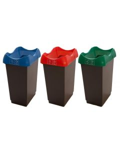 Set of 3, 50 Litre Open Top Recycling Bins with Stickers