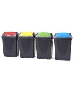 50 Litre Coloured Lid Push Flap Recycling Bins